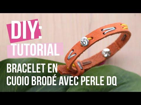 Bijoux à faire soi-même : Bracelet en Cuoio brodé avec perle DQ