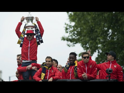Watch: Arsenal celebrate FA Cup with parade at the Emirates