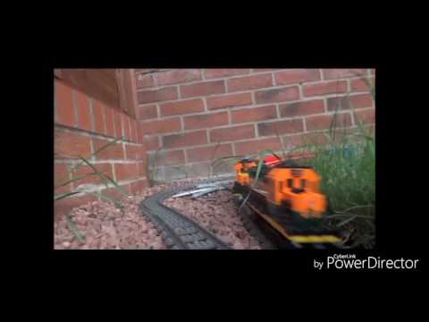 Lego trains in the garden. Large layout. Outtakes at the end