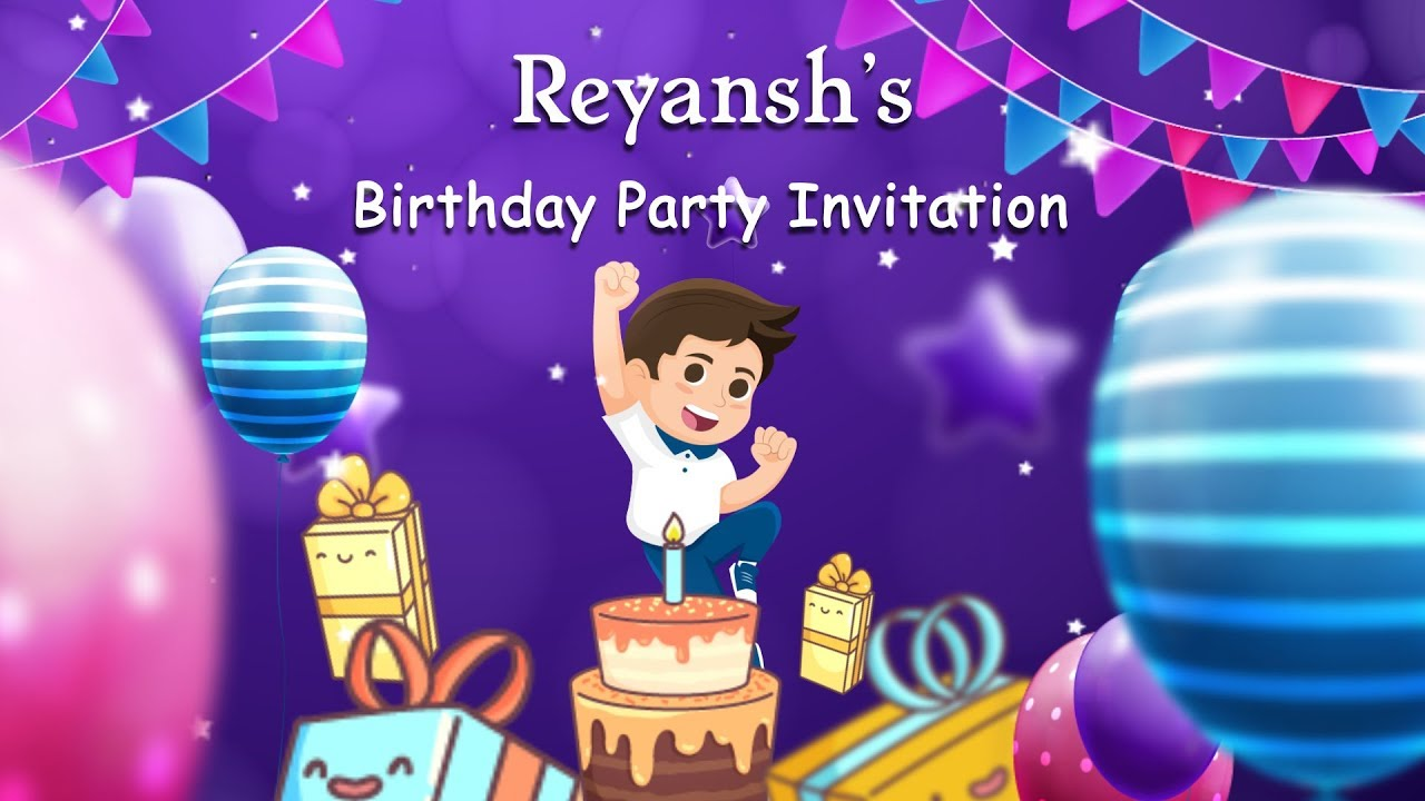 Birthday Video Invitation for Boy - Kids Birthday Invitation Video Maker