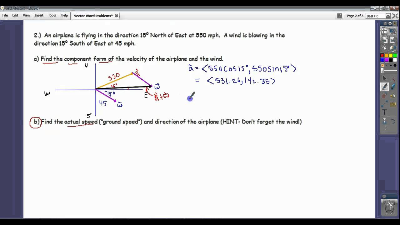Solve Navigation Problems using Vectors (solutions, examples, videos