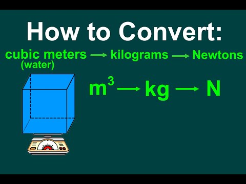 How To Convert A Volume Of Water (cubic Meters) To Mass (kg) & Weight (N) [EASY]