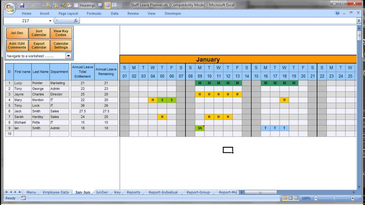 Annually employee leave record format in excel xls template also youtube rh