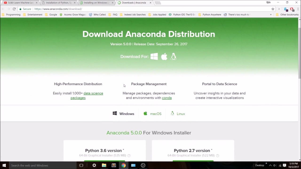 install python package windows anaconda