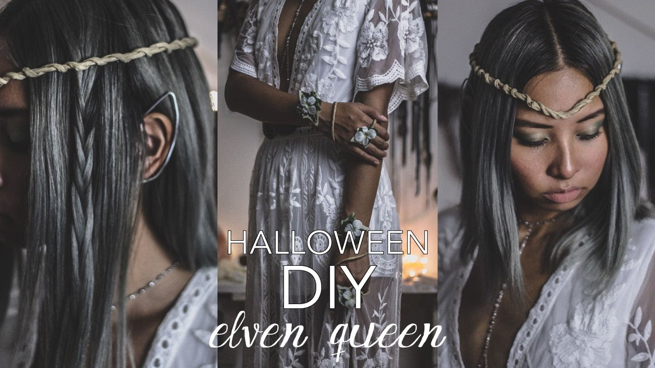 Diy halloween costume elf queen how to make elven ears twisted diy halloween costume elf queen how to make elven ears twisted crown leaf cuffs youtube solutioingenieria Image collections