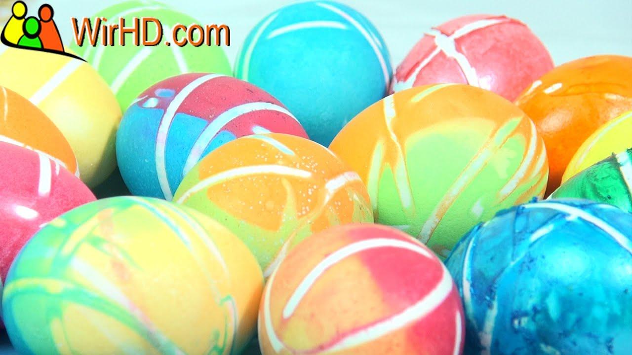 Eier färben, Ostereier Gummi Trick, Coloring Easter Eggs, striped ...