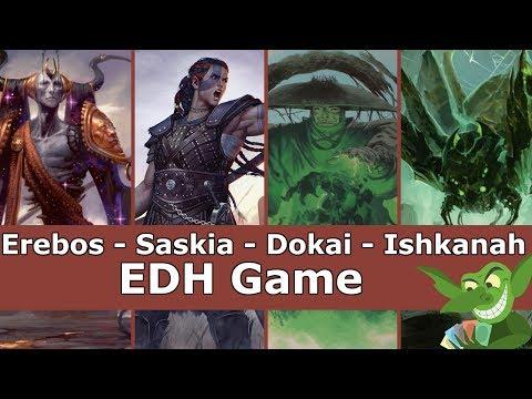 Erebos vs Saskia vs Dokai vs Ishkanah EDH / CMDR game play for Magic: The Gathering