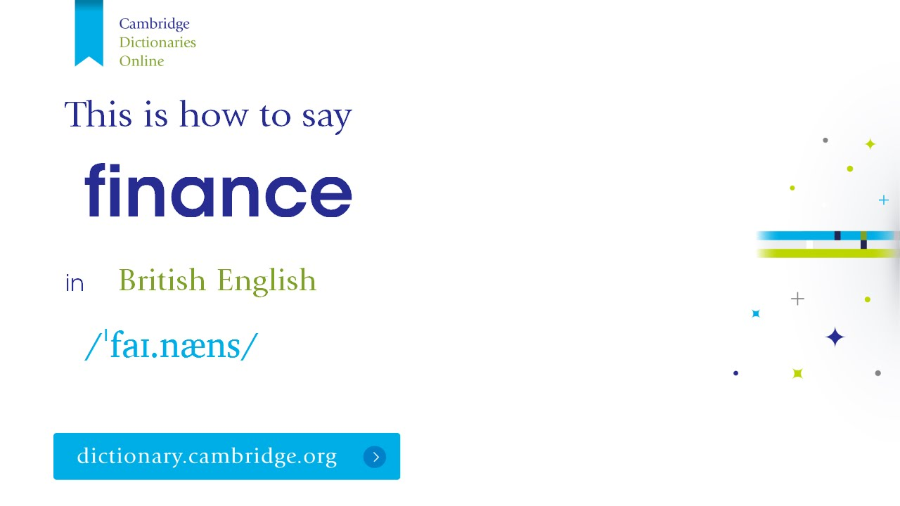 How to say finance