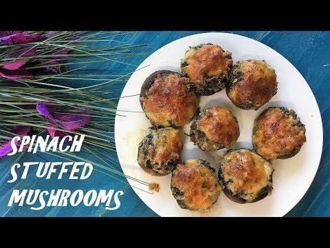 SPINACH STUFFED MUSHROOMS / Healthy Recipe/Fatma's Kitchen