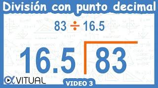 División con punto decimal ejemplo 3 de 6 | Aritmética - Vitual thumbnail