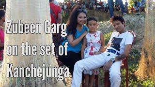 Zubeen Garg on the set of Kanchejunga