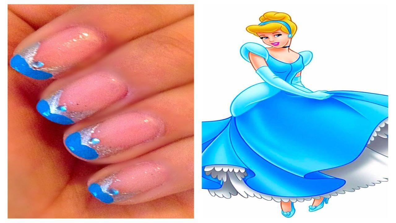 Disney Princess Cinderella Inspired Nail Art #3 - YouTube