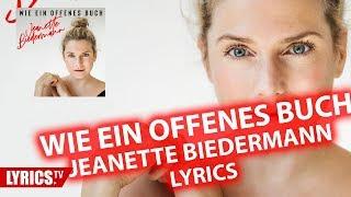 Wie ein offenes Buch LYRICS | Jeanette Biedermann | Lyric & Songtext