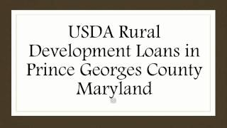 Prince Georges County MD USDA Rural Development Loans