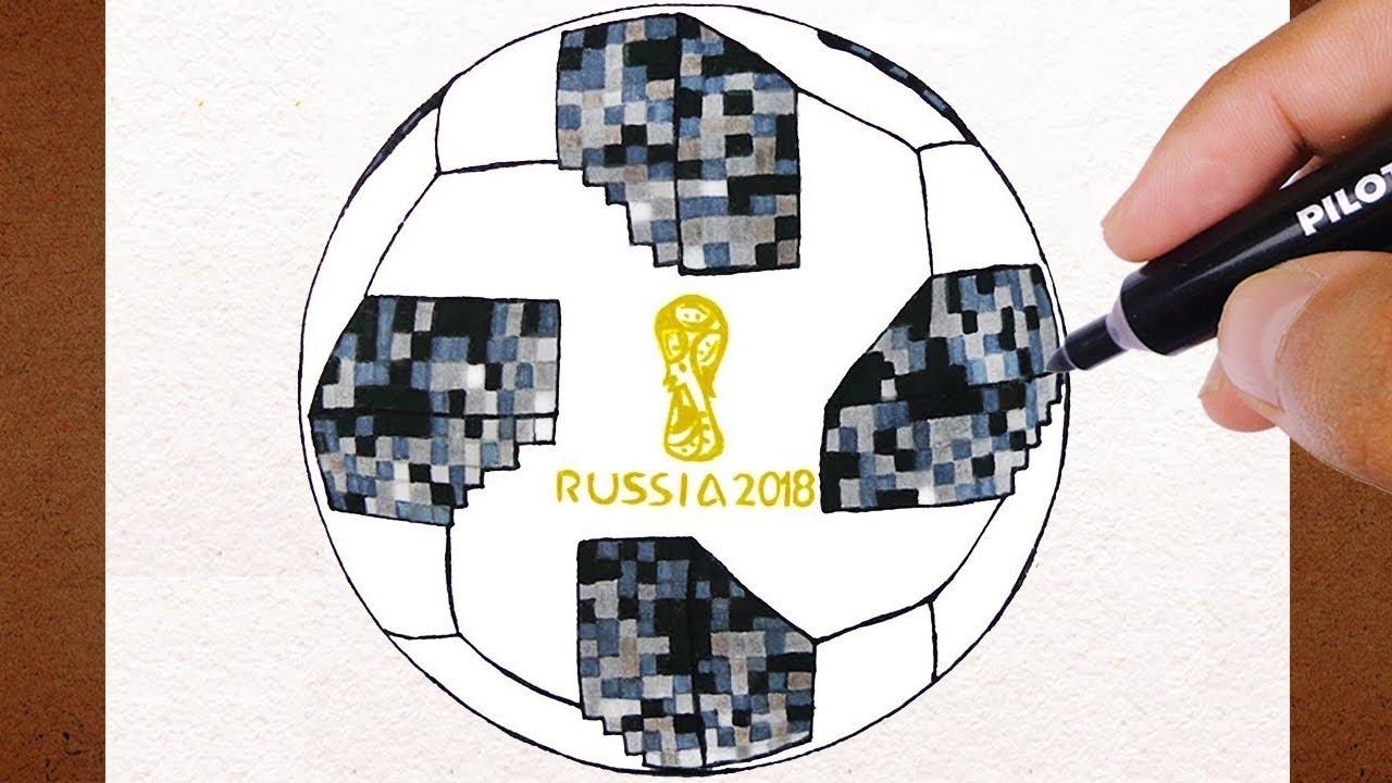 2f566984b Como Desenhar a Bola FUTEBOL Campo Adidas Telstar Copa do Mundo Rússia