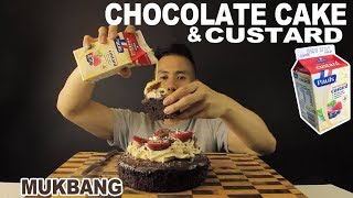 [MUKBANG] CHOCOLATE CAKE WITH CUSTARD-EATING WITH MY HANDS!