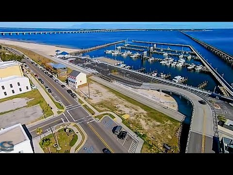 Bay St Louis, MS Aerial Video, Harbor And Old Town