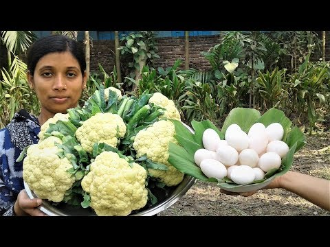 Bengali Food Recipe | Dim Fulkopi Curry Recipes | Cauliflower Egg Cooking By Street Village Food