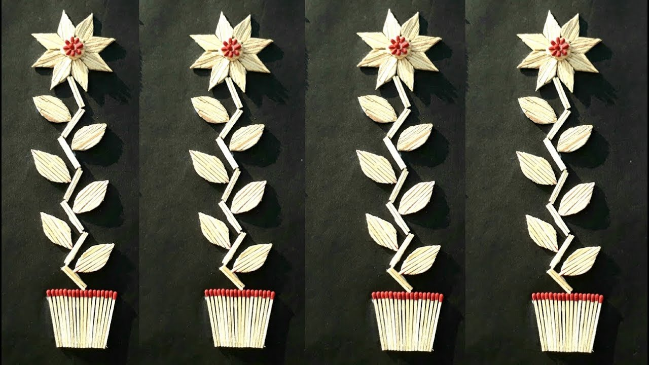 Diy Easy Matchstick Flower Pot Wall Hanging Making How To
