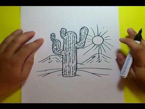 Como dibujar un cactus paso a paso 3  How to draw a cactus 3