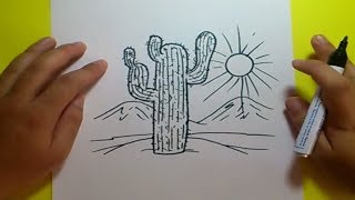 Como dibujar un cactus paso a paso 3 | How to draw a cactus 3