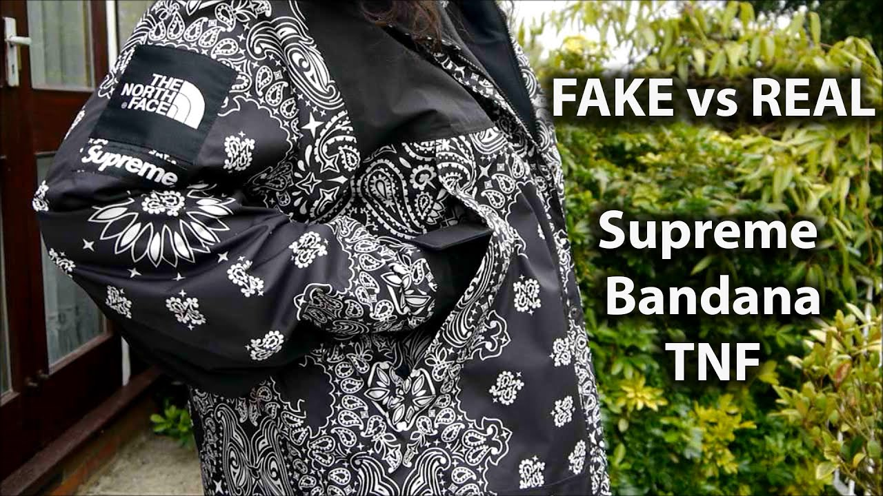 0025a5d7 REAL VS FAKE Supreme Bandana TNF ( The North Face ) - YouTube