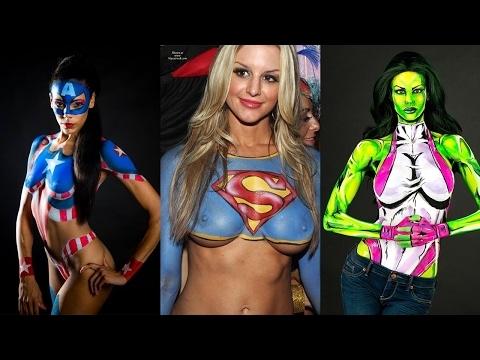 Spanish superhero body painting