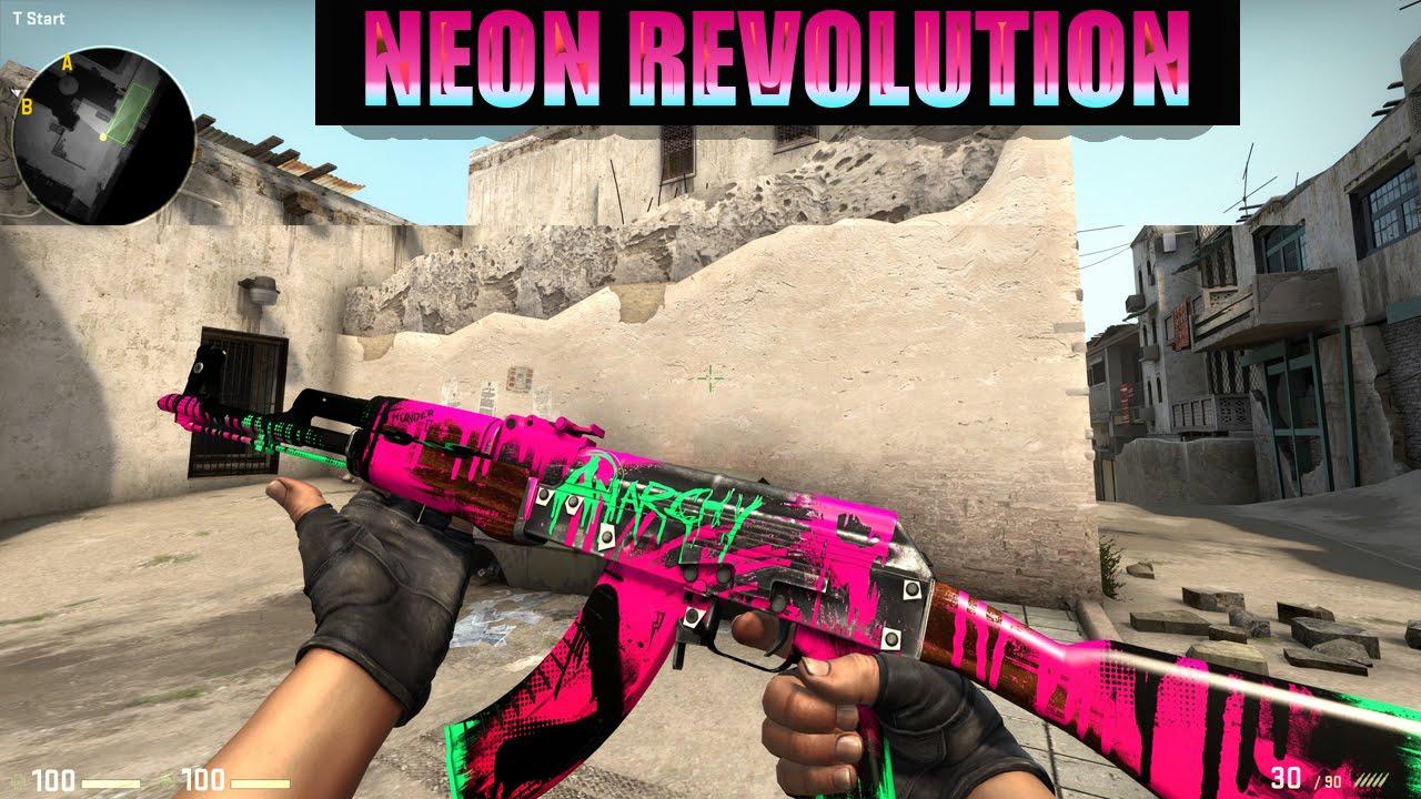 cs go skin showcase ak47 neon revolution youtube