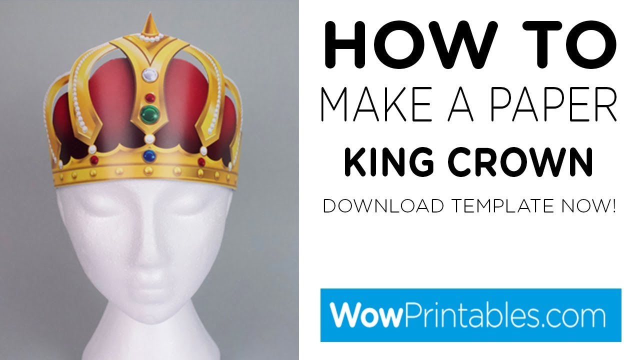 how to make paper king crown printable template youtube