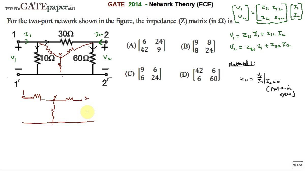 Port Network Gate 2014 Ece Find Impedance Matrix Of Given Two Port Network