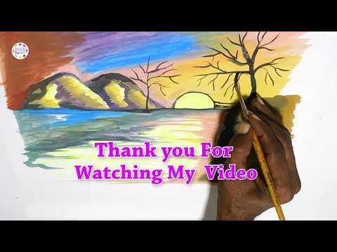 Beautiful sunrise scenery drawing and painting for kids || How to draw landscape for beginners