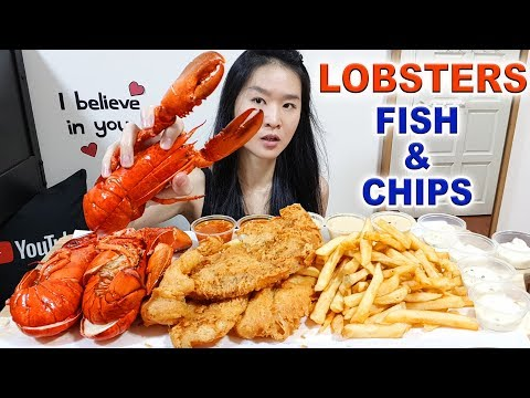 SEAFOOD FEAST! Boston Lobsters, Fish N' Chips w/ Chili Crab Sauce, Fries | Eating Show Mukbang