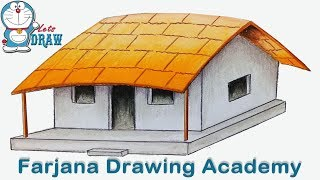 How to draw House with coloring technique step by step (very easy)