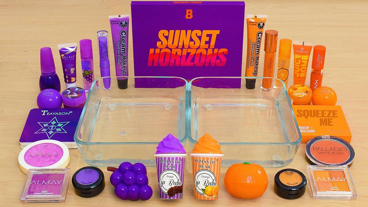 Grape vs Orange - Mixing Makeup Eyeshadow Into Slime ASMR