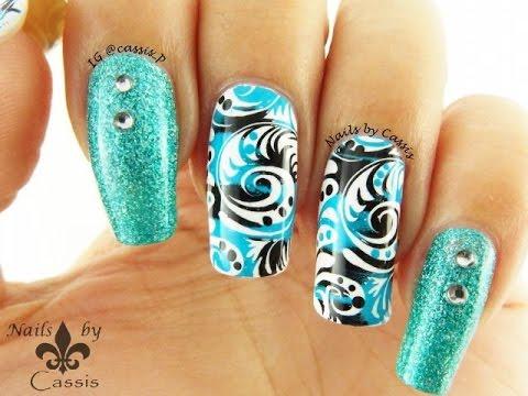 turquoise x black swirly stamping