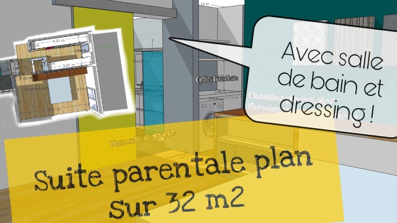 un plan de suite parentale moderne avec dressing et salle de bain de 32m2
