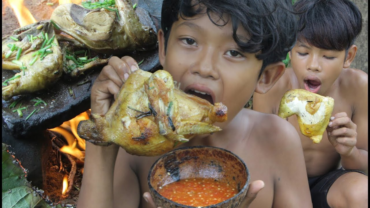 Primitive Technology - Awesome Cooking chicken - eating delicious