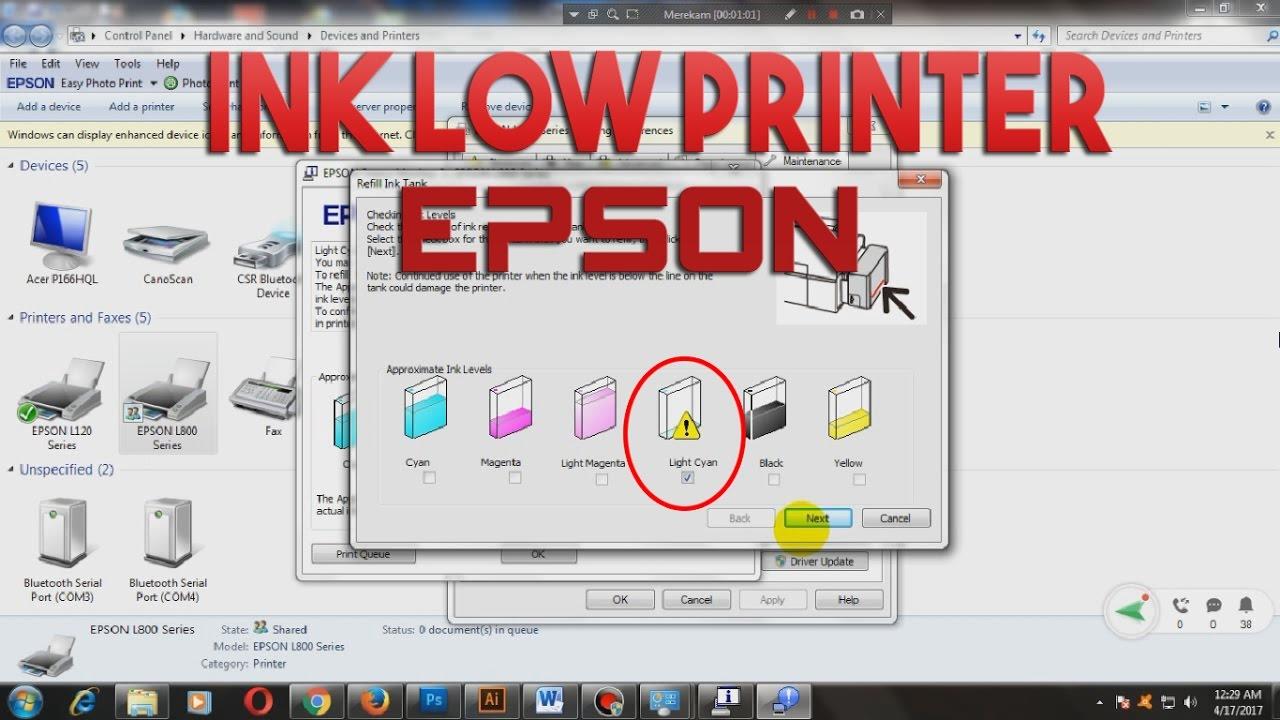 Cara Memasukan Serial Number Id Tinta Printer Epson Ink Low Youtube L120