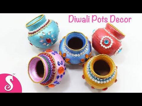 Diwali Plain POTs Decorating & Painting for LAXMI POOJA   Diwali Decor Ideas   Sonali's Creations