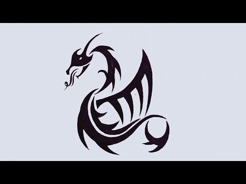 How to draw a Dragon Tribal Tattoo! Chinese Dragon Tribal Tattoo Drawing Tutorial