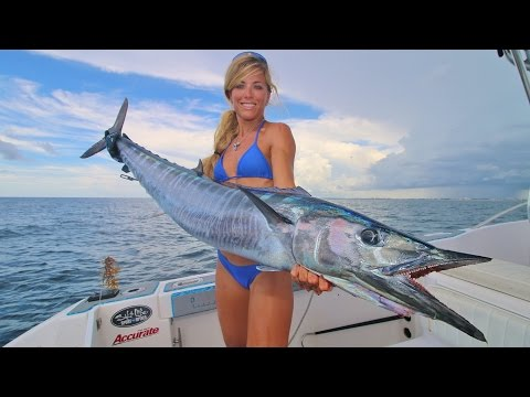 Florida Fishing Girl Catches Two Wahoo High Speed Trolling
