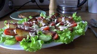 Постный салат с жареным картофелем. Обязательно пробуйте!!!
