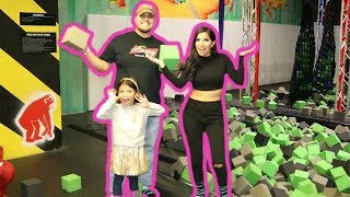 TRAMPOLINE PARK!! Let's Play Allison's Toy Box goes Jumping Around!