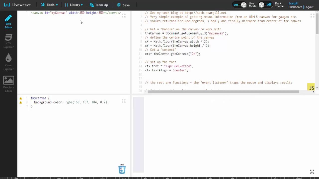 HTML5 CANVAS basic mouse utilisation