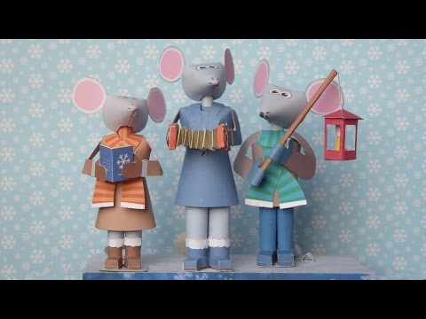 Christmas mice, paper models in motion