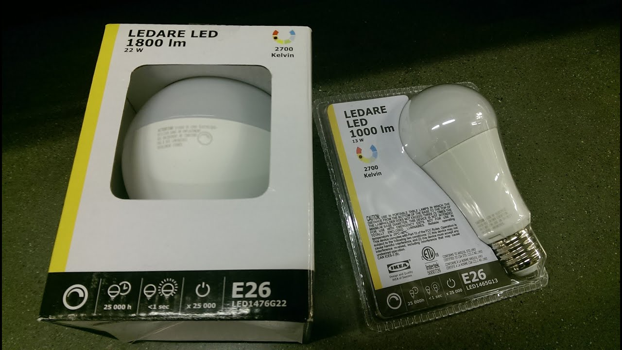 IKEA - 22W 1800 lm LEDARE LED DIMMABLE BULB - REVIEW - YouTube
