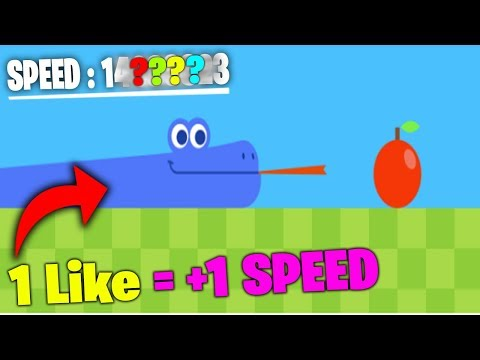 Playing Google Rainbow Snake game, but every like makes it faster
