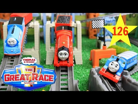 BIGGEST! THOMAS AND FRIENDS THE GREAT RACE #126 TRACKMASTER STREAMLINED THOMAS|SCARED JAMES