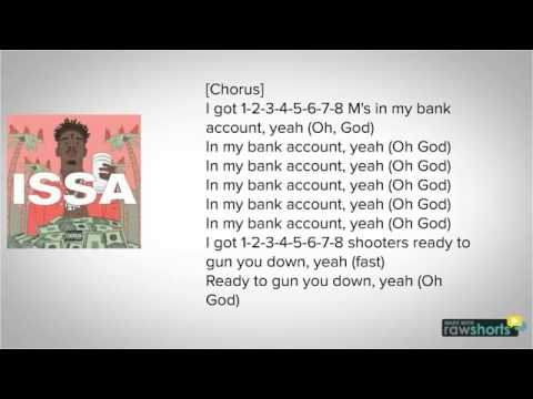 21 Savage - Bank Account LYRICS!!!!