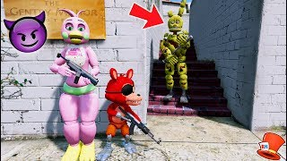 CAN FLOWER CHICA & FNAF WORLD FOXY HIDE FROM SPRINGTRAP? (GTA 5 Mods For Kids FNAF RedHatter)